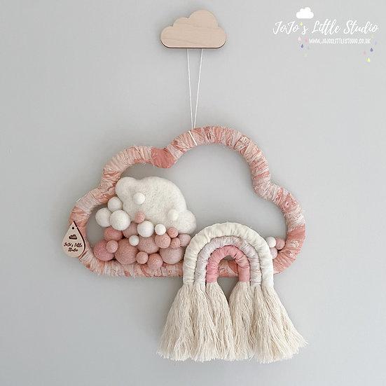 Blush Silk and Velvet Cotton Rope Rainbow Cloud Wall Hanging - 25cm