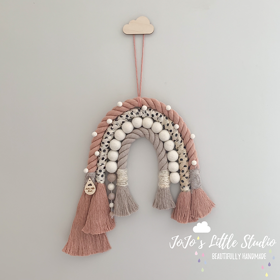 Super Chunky Rope and Pom Pom Rainbow Wall Hanging - Blush Taupe Polka
