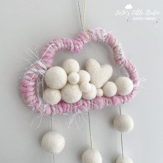 Limited Edition Hand-spun Fairy Yarn Cloud Wall Hanging - 12cm - Hearts