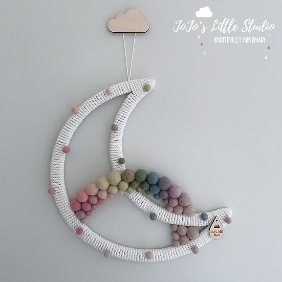Muted Pastel Rainbow Speckled Super Moon Wall Hanging - 30cm