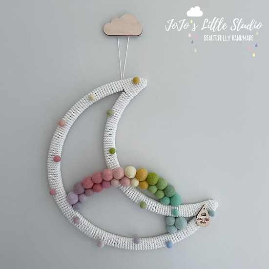 Pastel Rainbow Speckled Super Moon Wall Hanging - 30cm