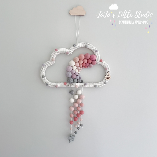 Super Speckled Rainbow Rain Cloud Wall Hanging - 30cm - Pink Ivory Grey
