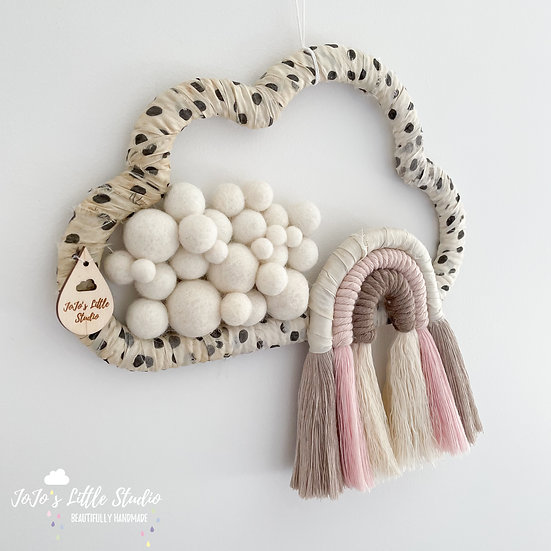 Polkadot Silk and Cotton Rope Rainbow Cloud - 25cm - Ivory Pink Taupe