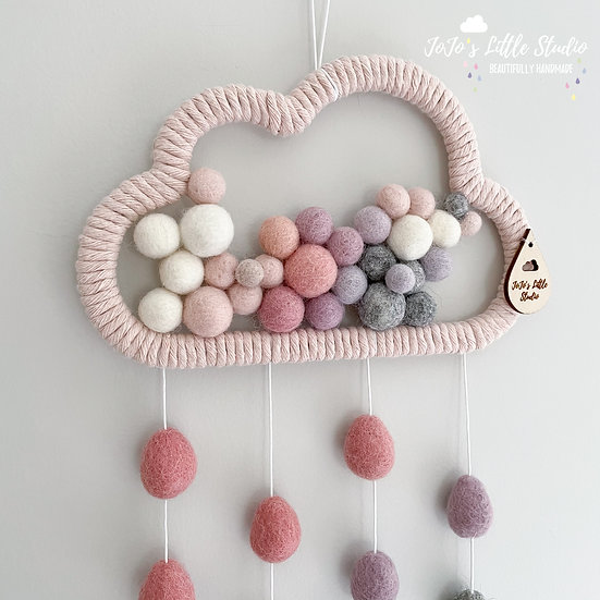 Raindrop Cloud Wall Hanging - 20cm - Pink Thistle Grey Olive