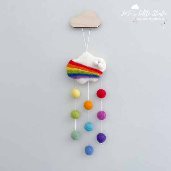 Limited Edition Felted Rainbow Cloud Wall Hanging