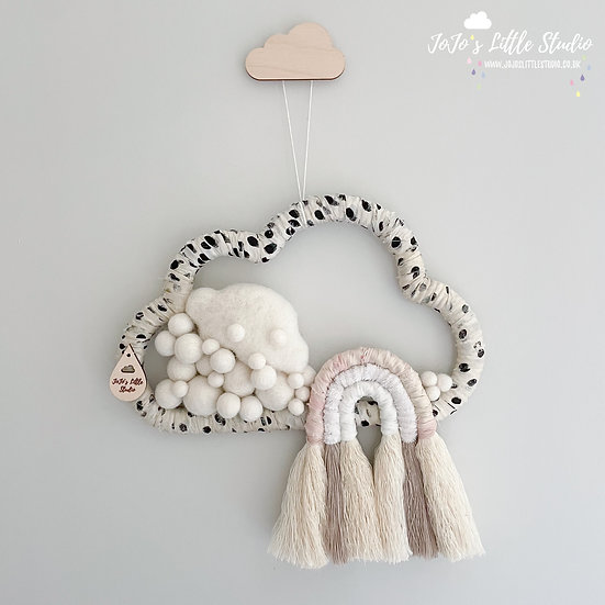 Ivory Polkadot Silk and Velvet Cotton Rope Rainbow Cloud Wall Hanging - 25cm