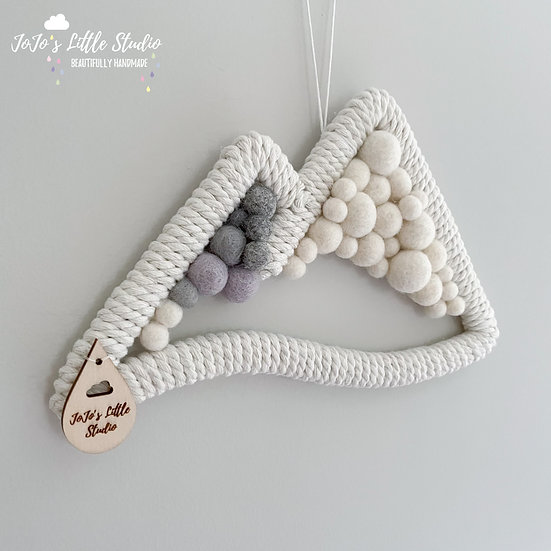 Mountain Wall Hanging - 22cm - Ivory and a hint of Grey