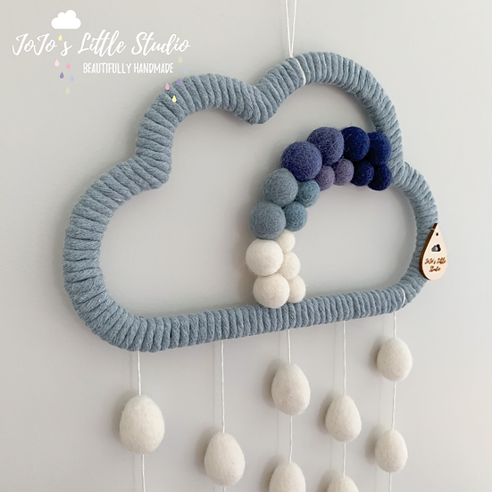 Giant Cloud Wall Hanging - 25cm - Denim Blue & Ivory