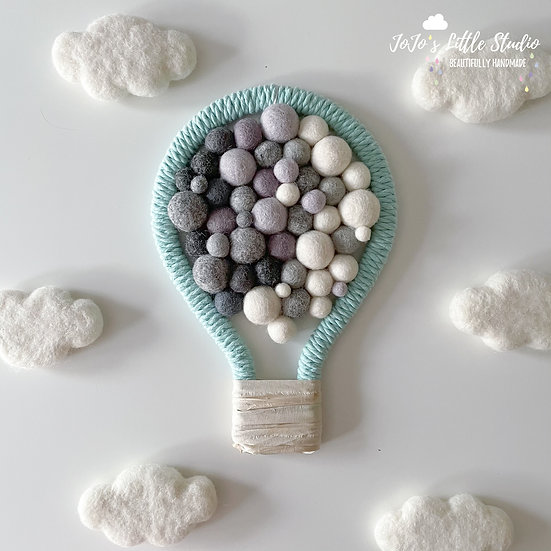 Mint Ivory Grey Hot Air Balloon Wall Hanging - 17cm