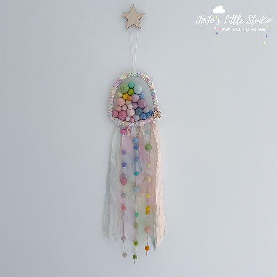 Rainbow Silk Jellyfish Wall Hanging - Pastel
