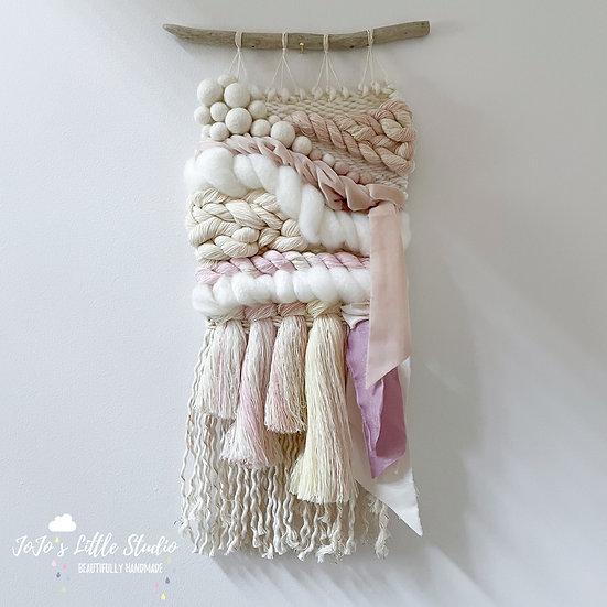 Weave #10 - Ivory Pink Peach Cream 19cm x 44cm