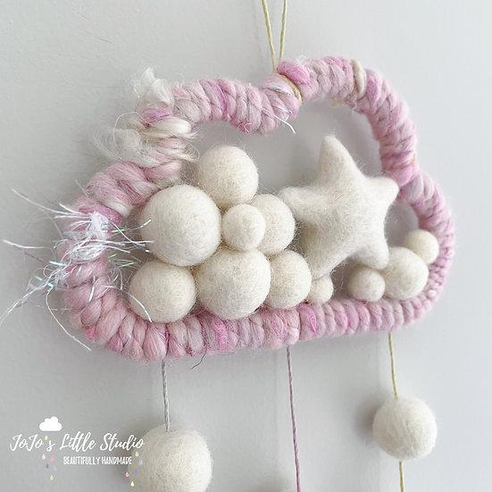 Limited Edition Hand-spun Fairy Yarn Cloud Wall Hanging - 12cm - Stars