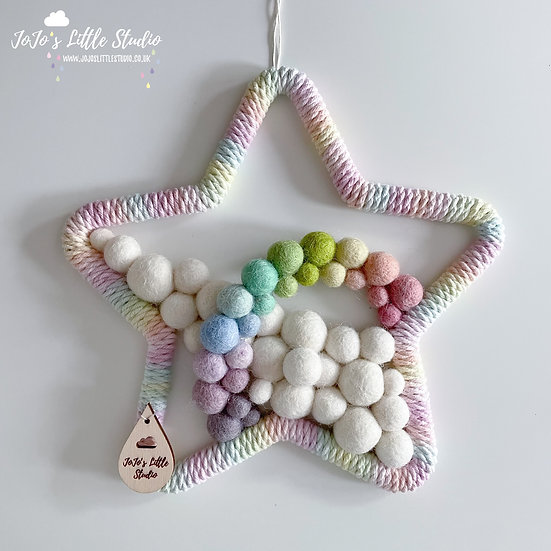 Star and Rainbow Arc Wall Hanging - 20cm - Hand Dyed Ombre Rope
