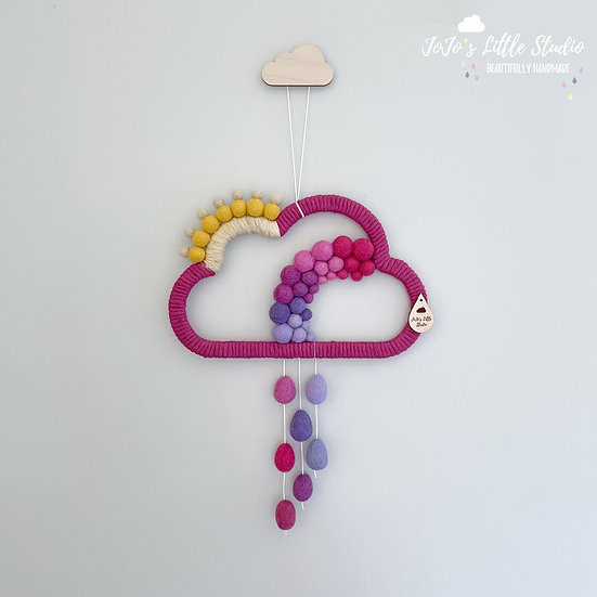 Magenta and Mauve - Cloud Sun Rainbow Rain Wall Hanging - 25cm