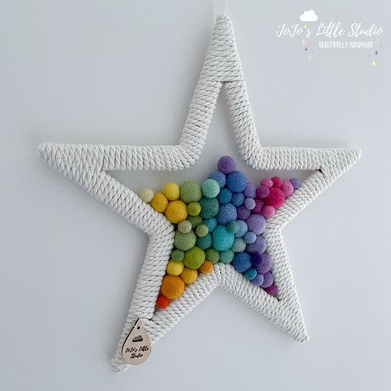 Star Wall Hanging - 30cm - Bright Rainbow Yellow
