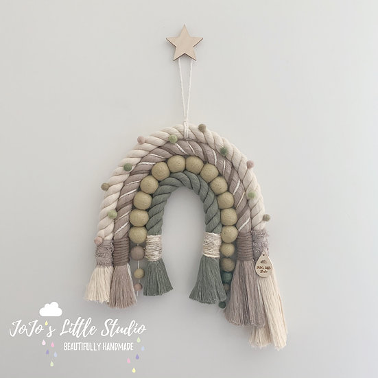 Super Chunky Rope and Pom Pom Rainbow Wall Hanging - Taupe Ivory Olive