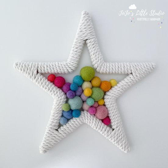 Star Wall Hanging - 20cm - Light Bright Rainbow