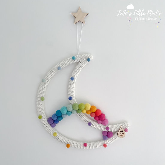 Bright Rainbow Speckled Super Moon Wall Hanging - 30cm