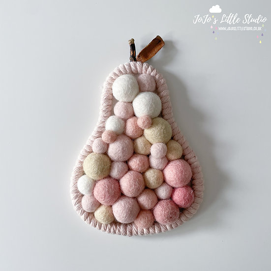 Pear Wall Hanging - 10.5cm x 15cm - Pink Champagne