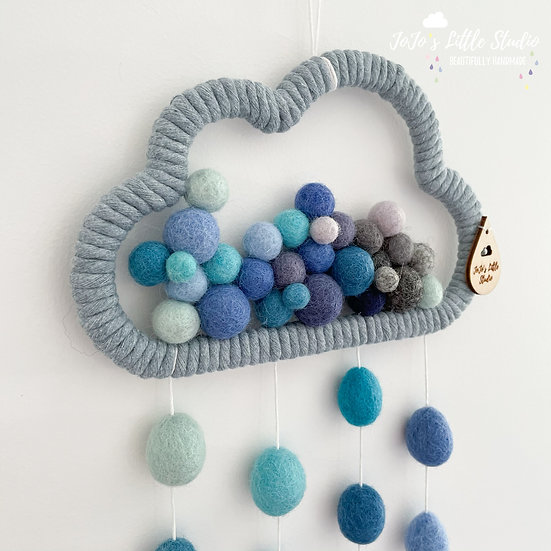 All The Blues Raindrop Cloud Wall Hanging - 20cm