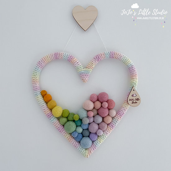 Heart Wall Hanging - 20cm - Hand Dyed Rainbow