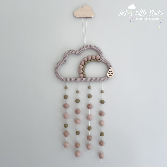 Latte Olive Rainbow Cloud Wall Hanging - 20cm