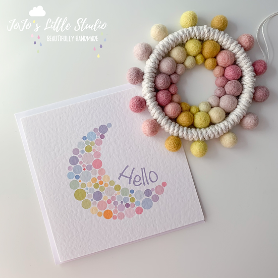 New Baby Mini Sun & Card Set - Pink & Yellow