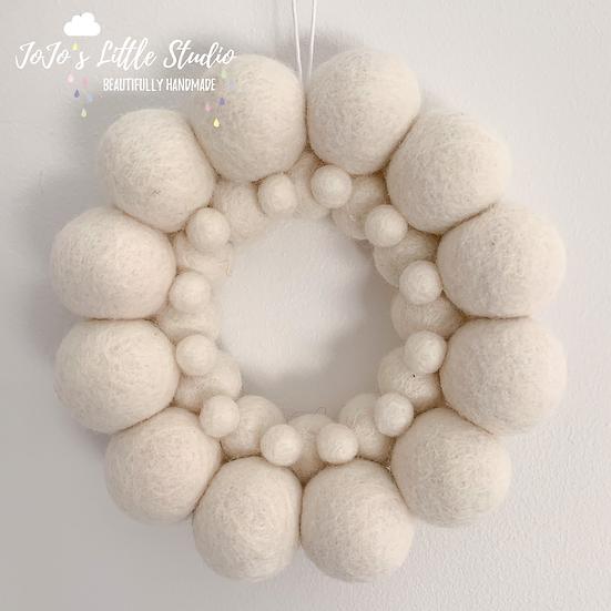 Ivory Small Felt Ball Wreath - 14.5cm