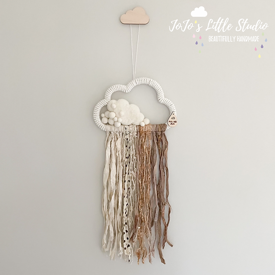 Special Large Cloud Sari Silk Wall Hanging - 20cm - Ivory Oatmeal Sand