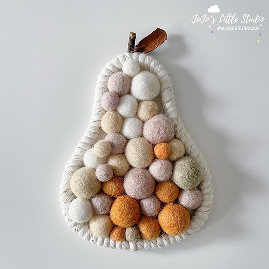 Pear Wall Hanging - 10.5cm x 15cm - Ivory Champagne Rust
