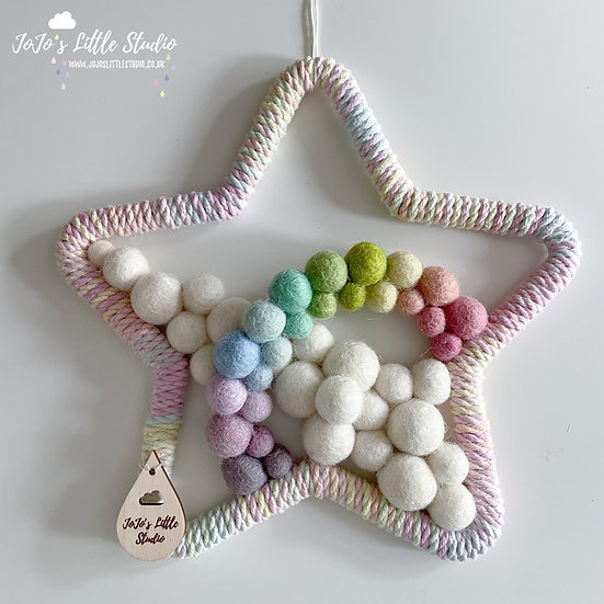 Star and Rainbow Arc Wall Hanging - 20cm - Hand Dyed Ombre Rope Mix