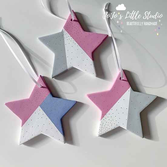Single Ceramic Hand Painted Star Decoration 12cm - Lilac White Grey Storm