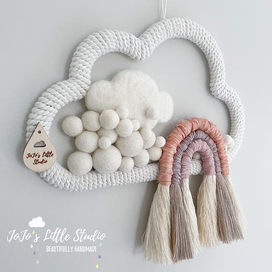 Silk and Cotton Rope Rainbow Cloud Wall Hanging - 25cm - Blush Taupe Lilac