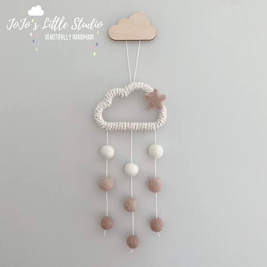 Mini Cloud Wall Hanging - 10cm - Ivory Latte