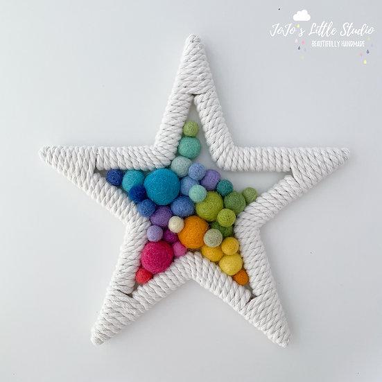Star Wall Hanging - 20cm - Bright Rainbow