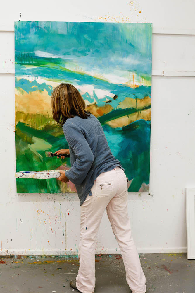 Trudy working on 'Untitled Abstract Landscape'
