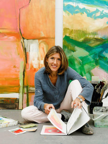 Trudy in front of 'Fields of Joy' (Left) and 'Untitled Abstract Landscape' (Right)