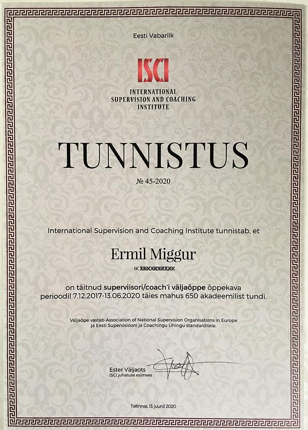 ISCI diplom - Ermil Miggur