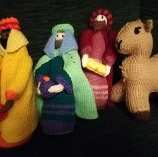 Nativity Scene by Faith Bowers: the Magi bring gifts
