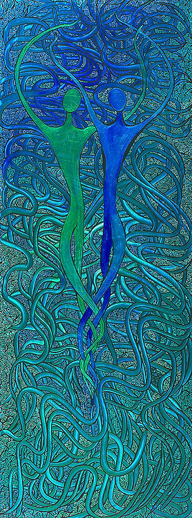 Blue and Green Dancers
