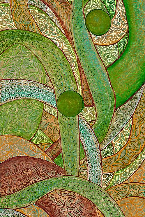 Gold and Three Green Circles
