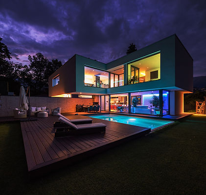 Modern villa with multi-color lighting. Fill the space aroung you with new colors using Wozart LED Orchestrator.