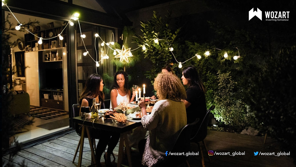 Automation of outdoor smart lights during a house party
