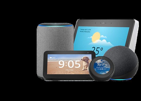 Alexa Smart displays & speakers with Wozart Smart home automation.