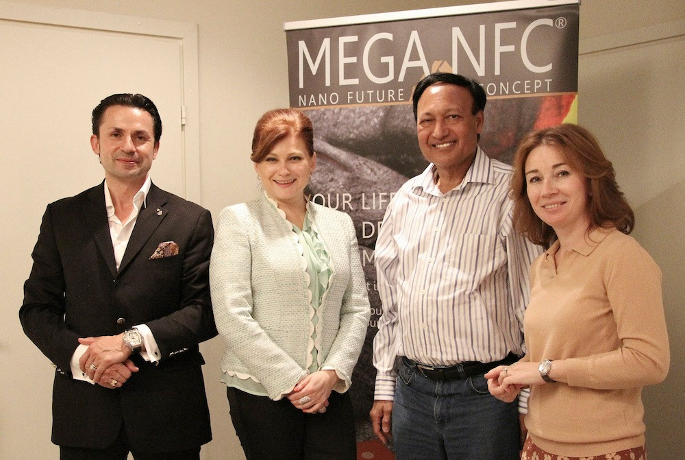 Above from left to right: The owners of the Mega NFC company, Holger Torsten Schubart and Olga Oncken, Dr Mosaraf Ali and the director of the Kraftway Clinic, Victoria Roshaninova