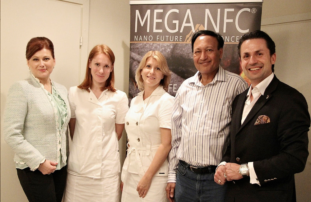 Olga Oncken, Holger Thorsten Schubart and doctor Mosaraf Ali at the presentation in Kraftway clinil, Moscow, Russia