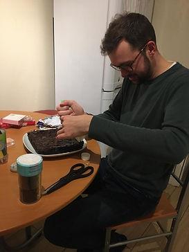 James hard at work
