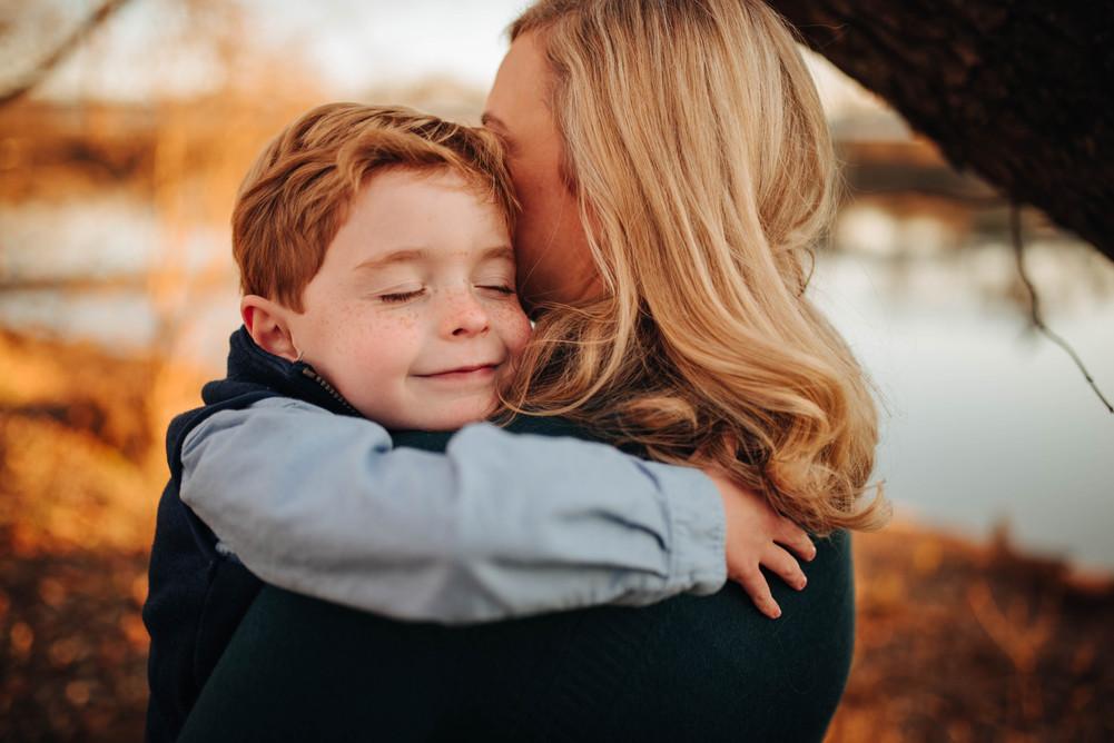 mother & son hugging tucker park goochla