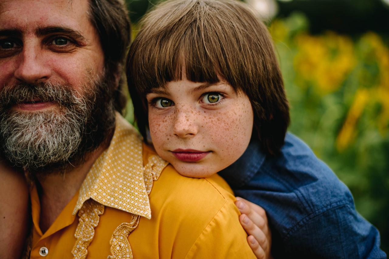 father & son sunflower bohemian