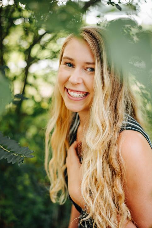 senior girl laughing